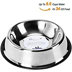 Stainless Steel Dog Bowls With Rubber Base Non-Skid Classical Food Bowl,Water Bowl For All Pets Rust Resistant (Various Sizes Available) By Petutu-XXL(Up to 34oz Food)