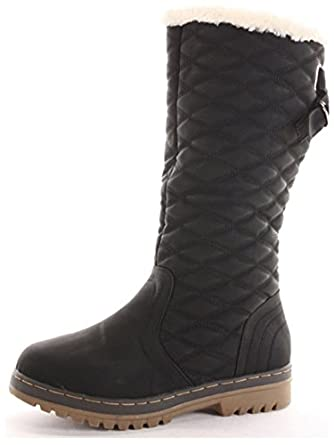 8737233550fcf Womens Ladies Winter Boots Fur Lined Thick Sole Black Snow Boots Shoes Size  6 UK