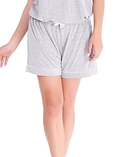 Cotton Pinstripe Shorts (Mio Lounge Pinstripe Grey Jersey Sleep Shorts ML16J1PJS S-M)