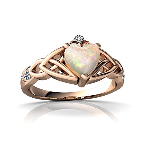 14kt Rose Gold Opal and Diamond 6mm Heart Claddagh Trinity Knot Ring - Size ()