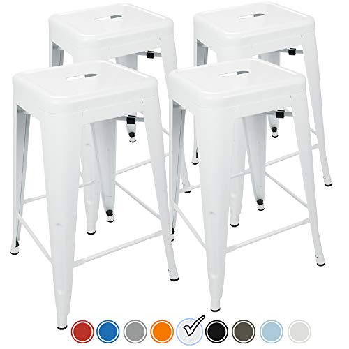 UrbanMod 24 Inch Bar Stools for Kitchen Counter Height, Indoor Outdoor Metal, Set of 4, ()