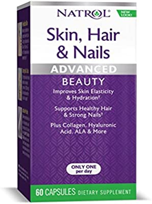Natrol Skin, Hair and Nails Advanced Beauty Capsules, Packed with beauty enhancing ingredients - 5,000mcg Biotin, 10mg Lutein, Collagen, Hyaluronic acid and more, Great value, 60 Count