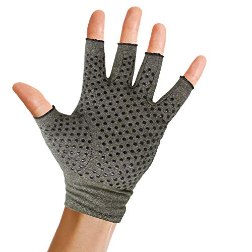 Pivit Anti-Slip Arthritis Gloves with Grips | Textured Fingerless Compression | Open Finger Hot Hand Typing Glove for Rheumatoid and Osteoarthritis | Arthritic Joint Pain & Cold Hands Relief (Medium) ()