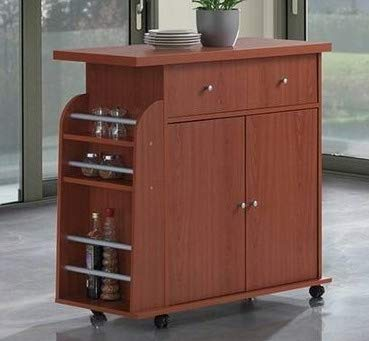 Storage - Cherry Wood with Spice Rack and Casters - Additional Space for Your Kitchen Essentials ()