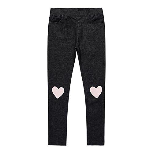 UNACOO Kids Girls Knit Denim Cartoon Printed Jeans(Heart, (Heart Denim)