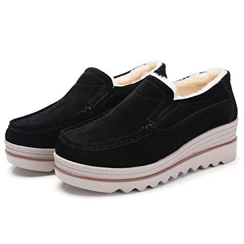 Top Plus Wide Toe Low Shoes Casual Mid Eagsouni Heel On Suede Wedge Velvet Women Slip Loafers Moccasins Black Platform xnPqPz1vFa