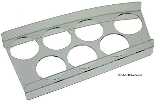 Eierhalter 643089 7er für Bosch Kühlschrank, Länge: 20cm, Breite: 7-9,5cm, Höhe: 3,5cm; Durchmesser Eierfach: 4cm.