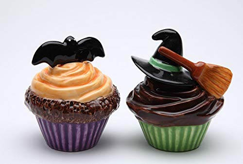 Fine Ceramic Halloween Bat & Witch Hat & Broom Cupcakes Design Salt & Pepper Shakers Set, 3-1/4