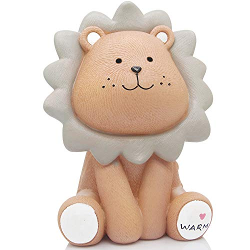 Lions Piggy Bank - H&W Cute Lion Coin Bank for Kids (Yellow), Money Box, Sunny Lion Piggy Bank, Best Gift for Children (WK010-D1)