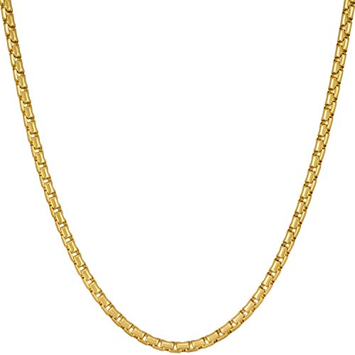 Lifetime Jewelry Gold Necklace for Women Men & Teens [ 2.2mm Rounded Box Chain ] 20X More 24k Real Plating Than Other Pendant Necklaces - Thin Yet Durable - Lifetime Replacement Guarantee (18.0) ()