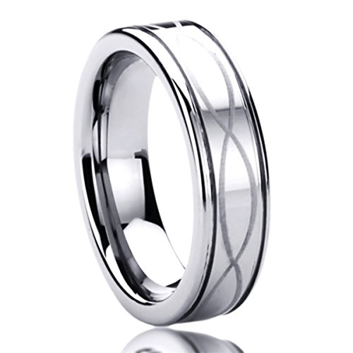6MM Titanium Mens Womens Rings Laser Etched Infinity Patterned Comfort Fit Wedding Bands SZ: 9