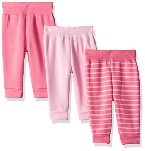 Hanes Ultimate Baby Flexy 3 Pack Adjustable Fit Fleece Joggers, Pink, 0-6 Months