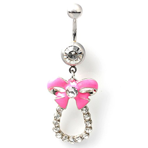 316L Surgical Steel 14G Clear Gem with Pink Bow Tie Enamel Dangle Belly Button Ring Girls Gift