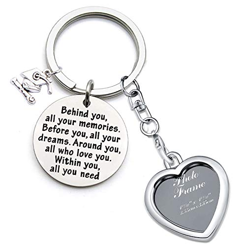 (FEELMEM Graduation Gifts Behind You All Memories Before You All Your Dream Graduation Keychain Inspirational Graduates Gifts 2018, 2019 (Photo Frame Keychain))