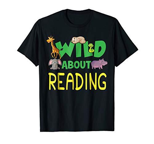 Wild About Reading Tee Shirt Back to School Kids Teachers