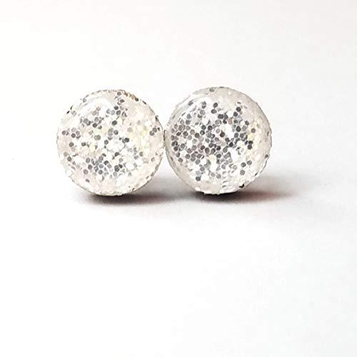 Bright metallic silver fine glitter wooden stud earrings 10mm jewelry
