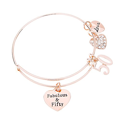 50th Birthday Gifts for Women, 50th Birthday Expandable Charm Bracelet, Fabulous and Fifty Bracelet, Perfect 50th Birthday Gift Idea for Her (For Her Ideas Gift $50)