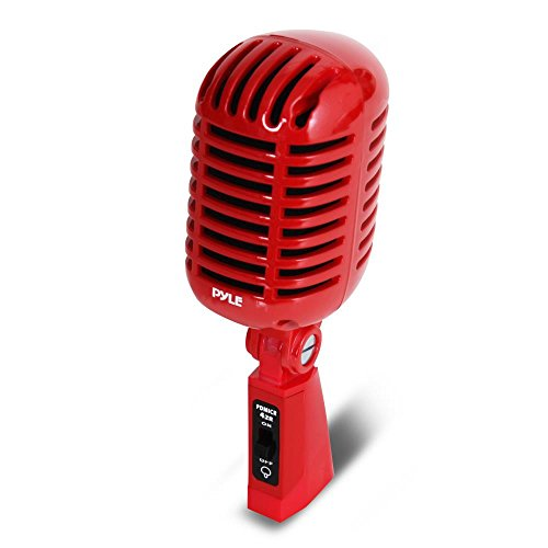 PYLE Classic Retro Dynamic Vocal Microphone-Old Vintage Style Unidirectional Cardioid Mic with XLR Cable-Universal Stand Compatible-Live Performance, in Studio Recording Pro PDMICR42R (Red)