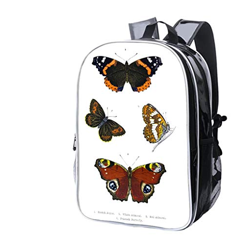 High-end Custom Laptop Backpack-Leisure Travel Backpack British Butterfly Illustrations Hand Coloured Engraving Water Resistant-Anti Theft - Durable -Ultralight- ()