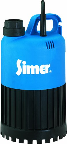 (Simer 2385 1/2 HP Submersible Utility Pump, Removes Unwanted Water From Flat Rooftops, Window Wells, Or Any Shallow Depressions, Thermoplastic & Stainless Steel Body, 3,000 GPH, 115V, 1-1/4