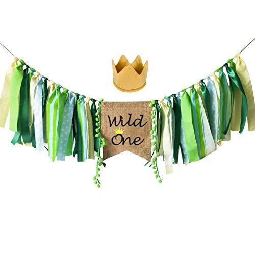(Wild One Banner, Wild One HighChair Banner, HighChair Banner Crown Decorations Set for Baby Girl Boy 1st Birthday Party Supplies, Safari Zoo Jungle Themed First Birthday Highchair Banner)