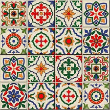 VINYL HUT Moroccan, Portuguese Tile Stickers Vintage Transfers Kitchen Bathroom Red - T3