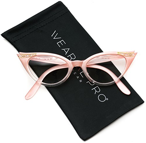 Vintage Cateyes 80s Inspired Fashion Clear Lens Cat Eye Glasses with Rhinestones (Gradient Pink Frame, - Eyeglass Frames Vintage Rhinestone