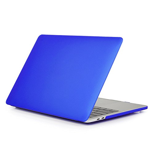 Price comparison product image SODIAL Clear Matte Rubberized Hard Case Cover for Macbook Pro 13 inch A1706@A1708 Laptop Shell Dark Blue