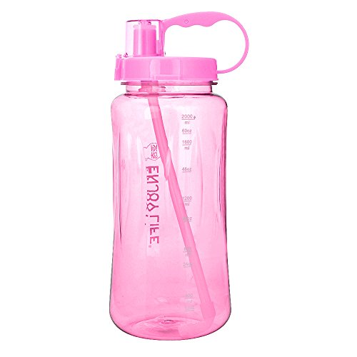 GTI 1.5L Large Capacity Sports Water Bottle, BPA Free 1.5 Liter 50 oz Wide Mouth Portable Big Plastic Bottle Leak Proof Space Cup Travel Mugs with Scale Straw Strap