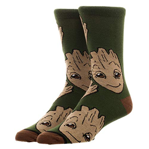 Guardians of The Galaxy Groot Large All Over Print Crew Cut Socks, US Size 8 - 12 from Bioworld