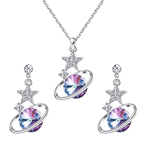KesaPlan Saturn Jewelry Sets Made of Swarovski Crystals, Saturn Necklace and Dangle Stud Earrings Set for Women Girls Star Crystal Pendant Necklace with Extender Chain, Jewelry Gift for Christmas
