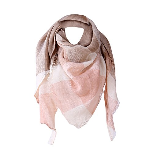 Plaid Blanket Scarf Women Big Square Long Cashmere Scarves Warm Tartan Checked Shawl (Khaki, 140140200cm)