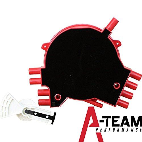 A-Team Performance Red Optispark LT1 Vented Brass Terminal Cap and Rotor Kit for 92 – 97 Chevrolet Corvette Camaro Trans Am Impala Pontiac Firebird V8 5.7L (Brass Rotor)