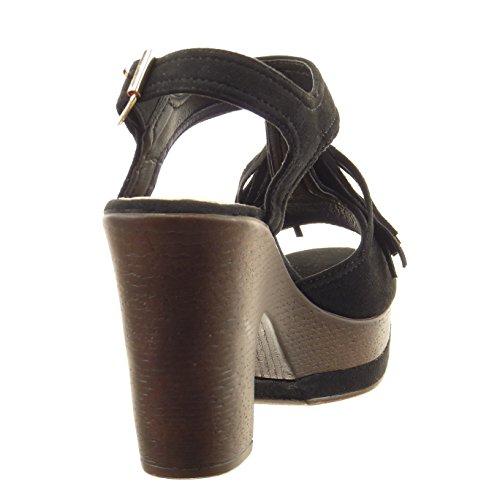 Sopily - Chaussure Mode Sandale ouverte Cheville femmes frange boucle Talon haut bloc 10 CM - Intérieur synthétique - Noir
