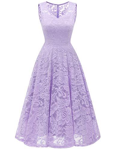 Knee Length Silk Bridesmaid Dress - Meetjen Women's Cocktail V-Neck Dress Floral Lace Tea-Length Bridesmaid Party Dress Midi Lavender XL