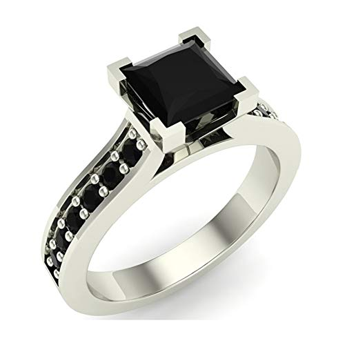 Princess Cut Black Diamond Engagement Ring 14K White Gold 1.00 ct tw (Ring Size 7)