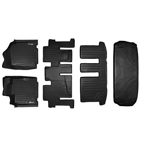 SMARTLINER Floor Mats 3 Rows and Cargo Liner Behind 3rd Row Set Black for 2013-2018 Pathfinder / 2013 JX35 / 2014-2019 QX60