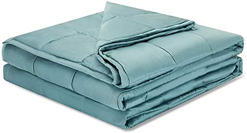Weighted-Idea-Cooling-Weighted-Blanket-15-Pounds-60x80-for-Queen-Size-Bed-Bamboo-ViscoseSea-Grass-Blue