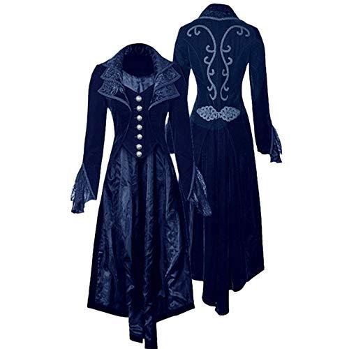 Mysky Women Medieval Vintage Steampunk Gothic Long Velvet Jacket Ladies Classic Solid Lapel Long Coat