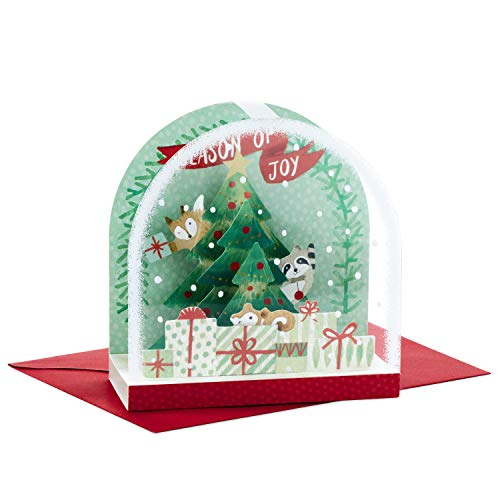 Pack Single Card (Hallmark Paper Wonder Pop Up Christmas Card Snow Globe (Woodland Creatures))