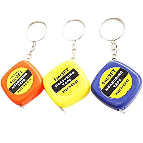 yanQxIzbiu 3 PCS Measuring Tape, Mini Keychain Key Ring Easy Retractable Tape Measure Pull Ruler 1M/3FT Gift Random Color