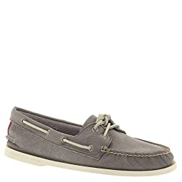 Sperry Top-Sider Men\'s A/O 2-Eye Washed,Grey Full Grain Leather,US 9 M