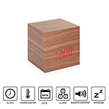 Anten Cube LED Digital Alarm Clock USB/AAA Wood Clock Sound Activated Multi-function Display Time Date Temperature Red Light Brown 2.67X2.67X2.67 Inch