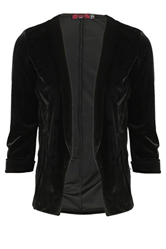 Size Tailored Blazer 16 Back 8 Floral Black UK Ladies Embroidery Velour with 75xE8wq8
