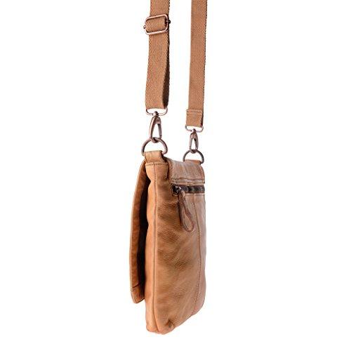 Bolso bandolera hombre piel lavada teñida en prenda con solapa DUDU Nut Brown