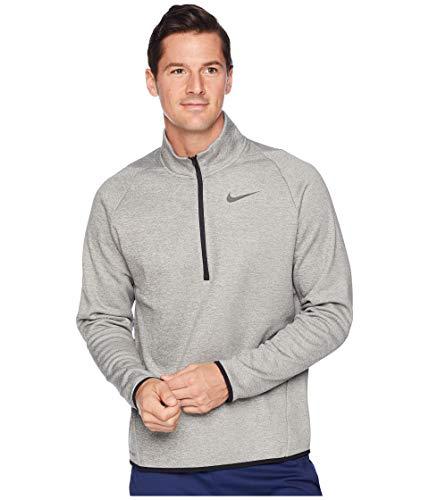 Nike Men's Therma 1/4 Zip Fleece Pullover (Dk Grey Heather/Black, Medium)