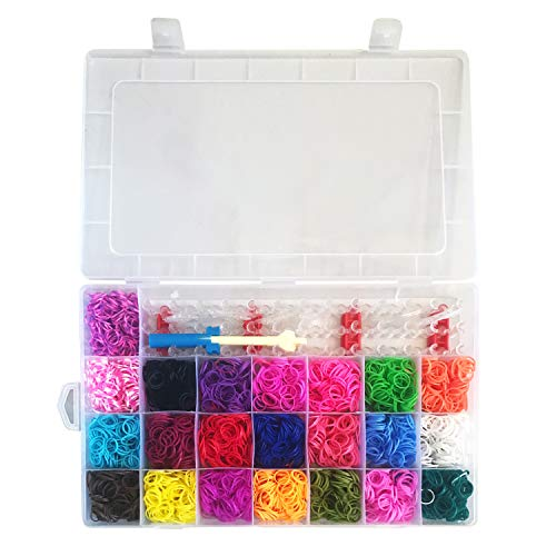 LilPals' DIY 10000+ Multi-Color Rubber Band Mega Refill Kit - Best Value Set Includes 20+ Rubber Band Colors of The Rainbow in A Durable Case - Kid's Party Favorite ()