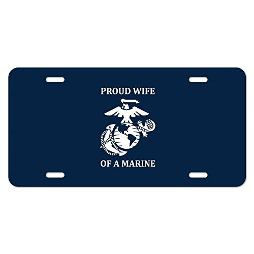 zaeshe3536658 Proud Wife of a Marine USMC White Logo on Blue Officially Licensed Novelty Metal Vanity Tag License Plate Auto Tag 12 x 6 inch. by zaeshe3536658