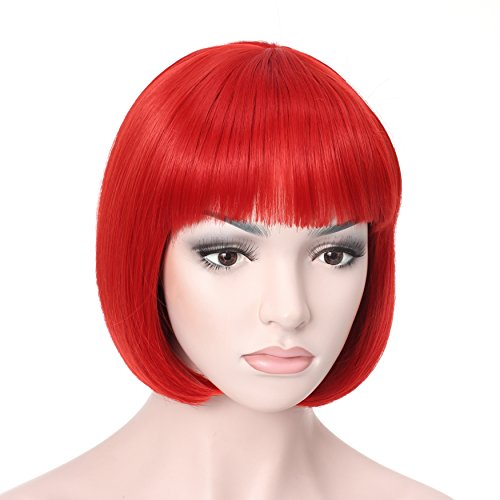 "Red Short Wig (OneDor 10"" Short Straight Flapper Bob Heat Friendly Cosplay Party Costume Hair Wig (RED))"