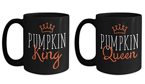 Lplpol Halloween Matching Couple Mugs Pumpkin King Queen Funny His Hers Coffee Mugs -